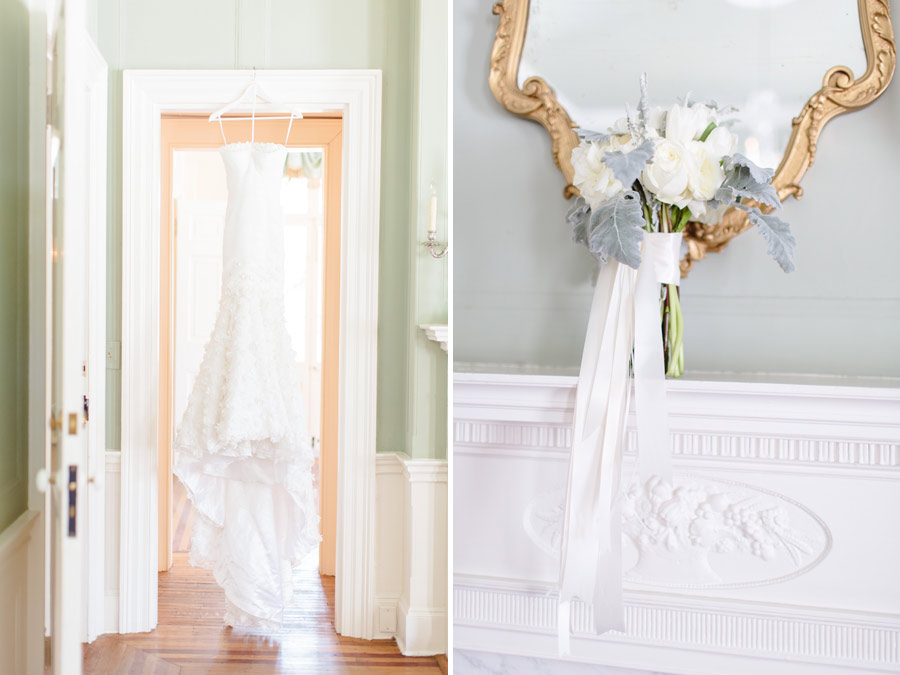 Charleston, SC Lowndes Grove Plantation Wedding details  flowers and wedding dress