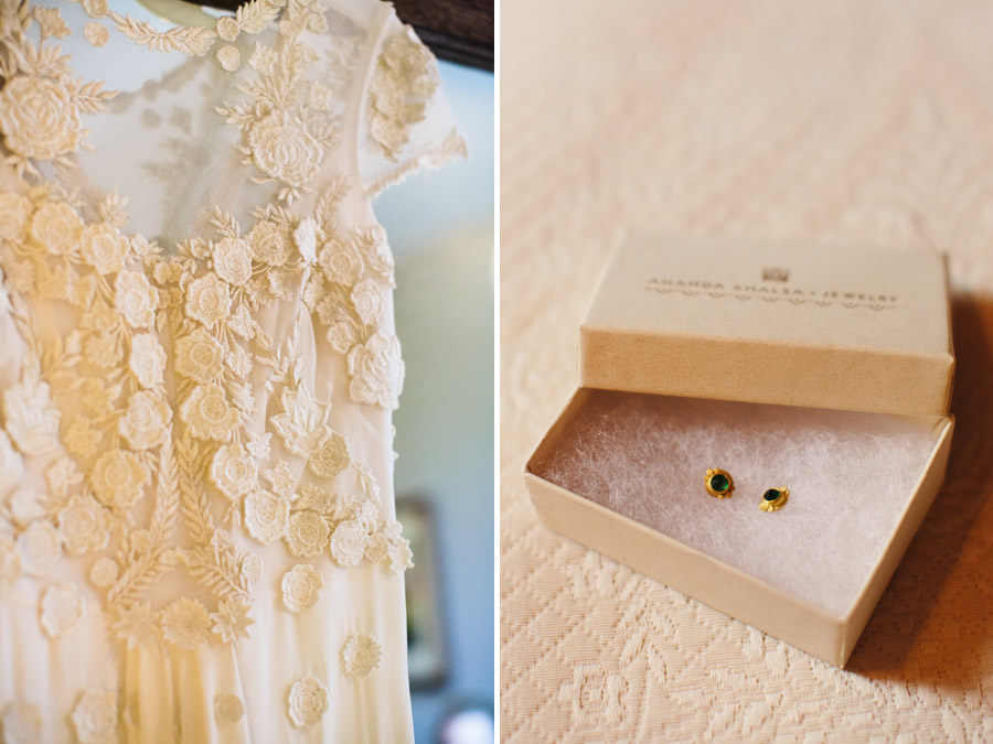 Temperley London wedding gown worn by a beautiful bride at bishop farm in new england rustic wedding