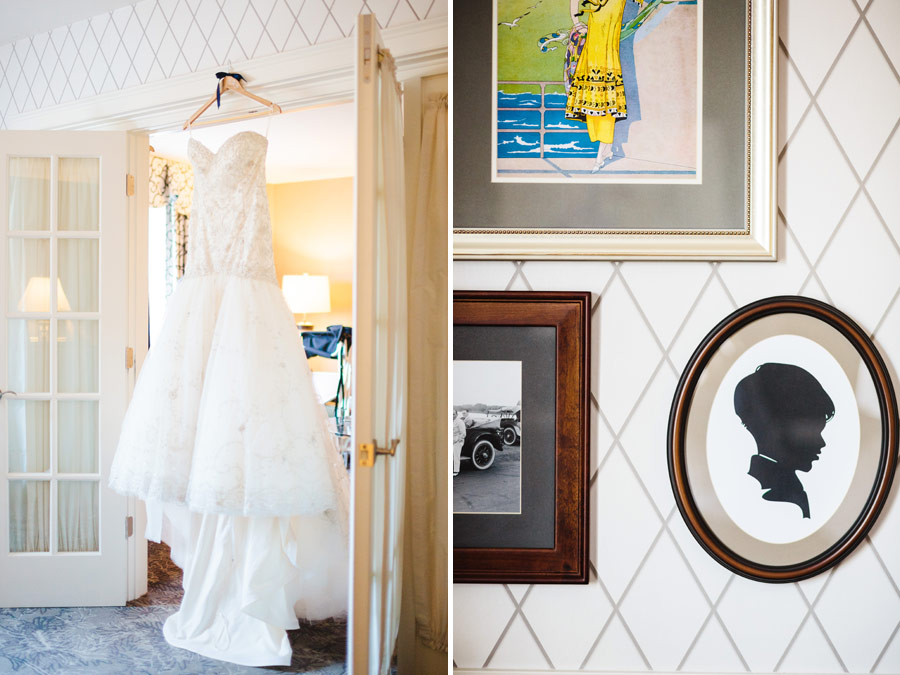 Beautiful dress hanging in the bridal suite at the viking hotel in newport, RI - wedding photography