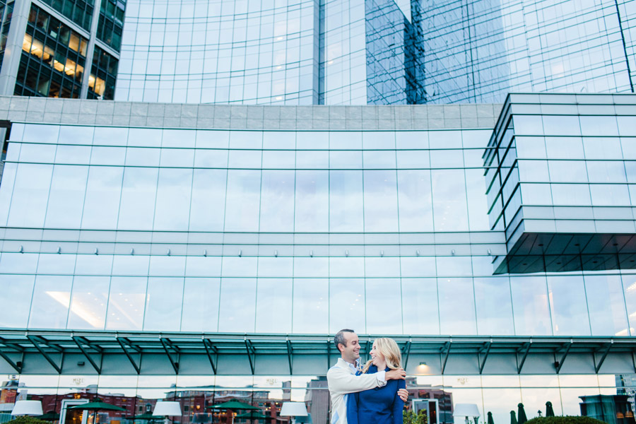 John & Cate's awesome downtown boston intercontinental hotel engagement photography