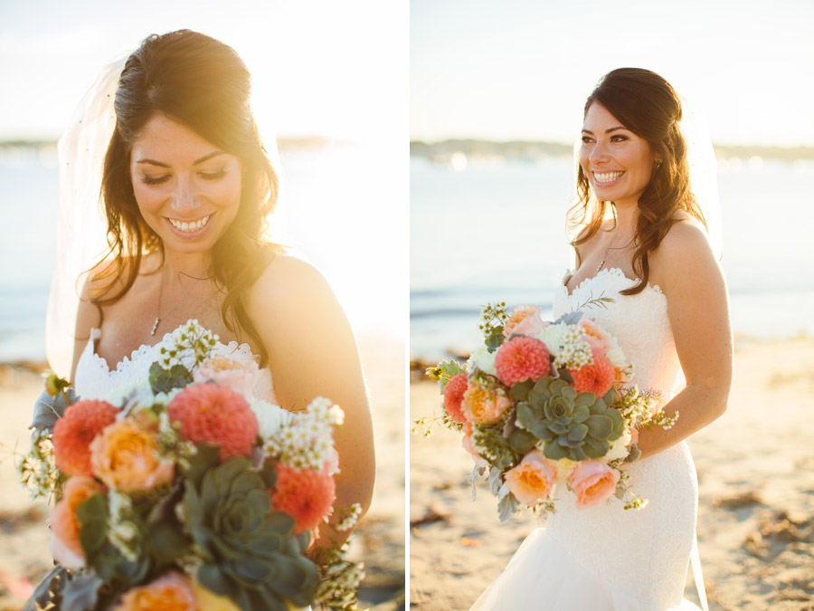Rachael lifestyle bride on the beach in scituate, ma with gorgeous flowers - photography, wedding at the scituate harbor yacht club