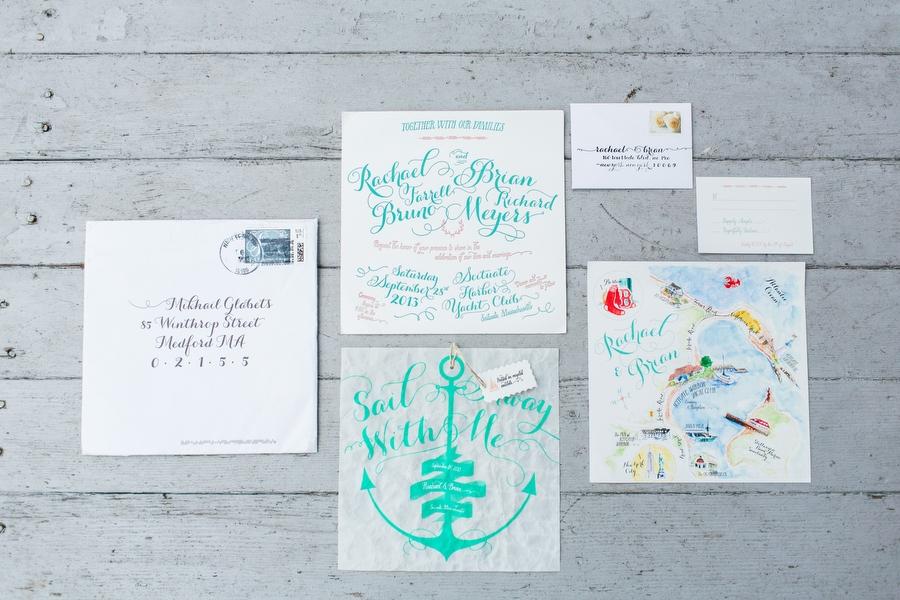 Amazing custom designed sail themed wedding invitations on sail cloth