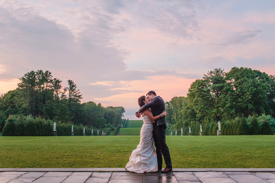 gorgeous sunset wedding on the lawn at the crane estate wedding venue