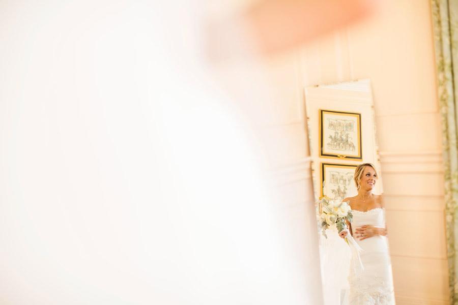 stunning charleston, sc bride in her suite through the mirror - charleston wedding photographers
