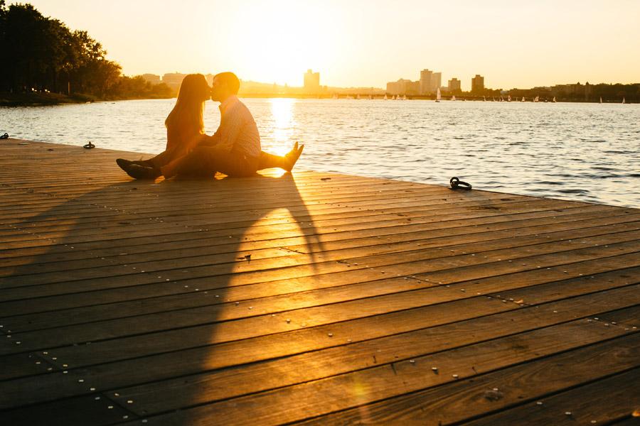 Boston portrait and lifestyle photographer couple on esplanade during sunset