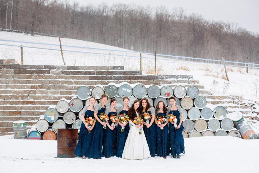 roxbury maple farm wedding bridal party portraits
