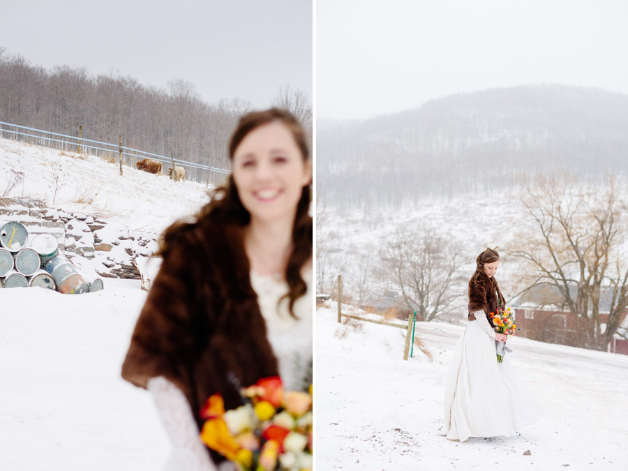 beautiful bridal portraits at a winter wedding in the snow