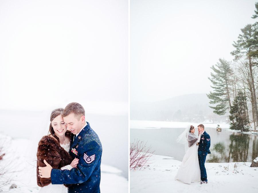 beautiful winter snowy wedding portraits in new york