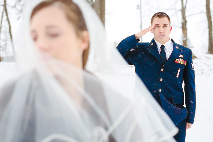 romantic new york winter wedding portraits air force