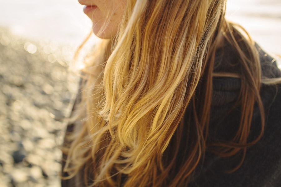 beautiful golden hair exploring the coast of oregon