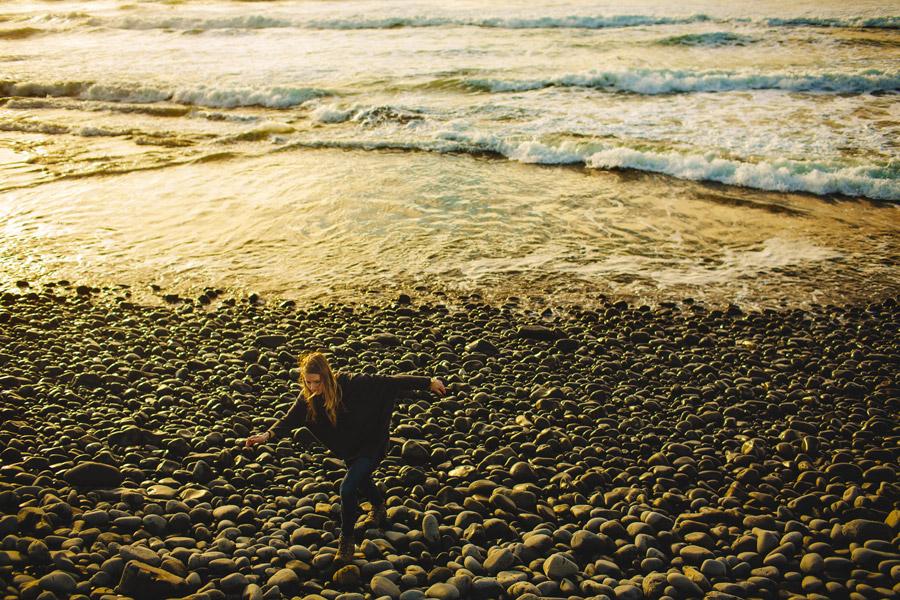 pretty girl exploring the oregon coast