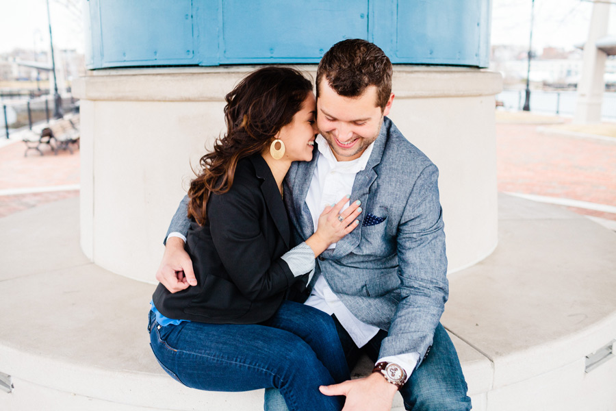 Piers Park waterfront boston engagement photographer couple laughing