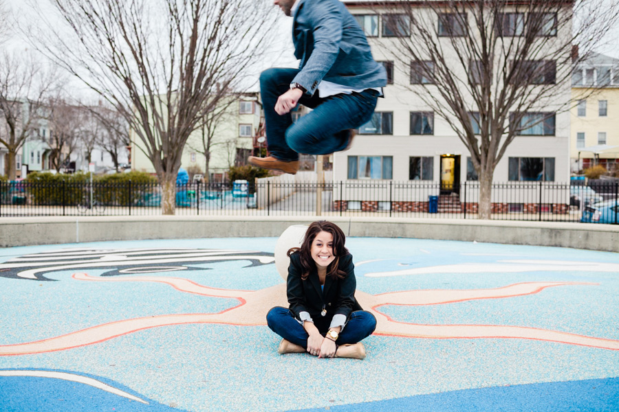 fun jumping east boston engagement session engagement photographer