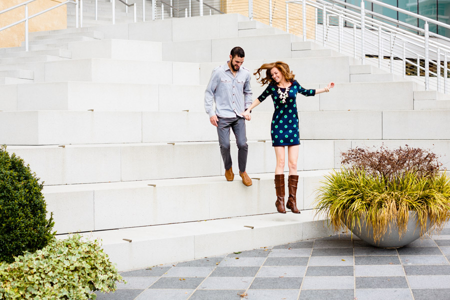 fun and beautiful uptown charlotte north carolina engagement photography