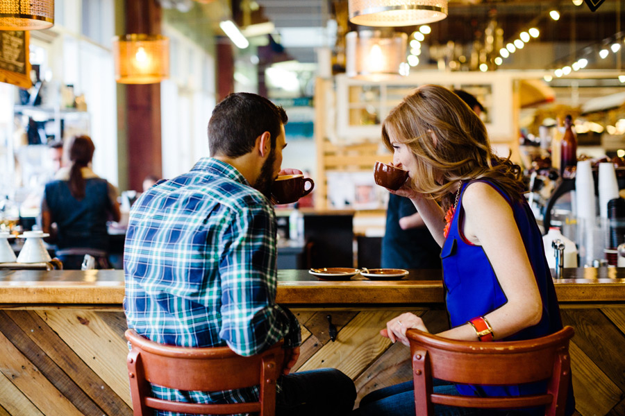 latte at not just coffee in uptown charlotte engagement photography