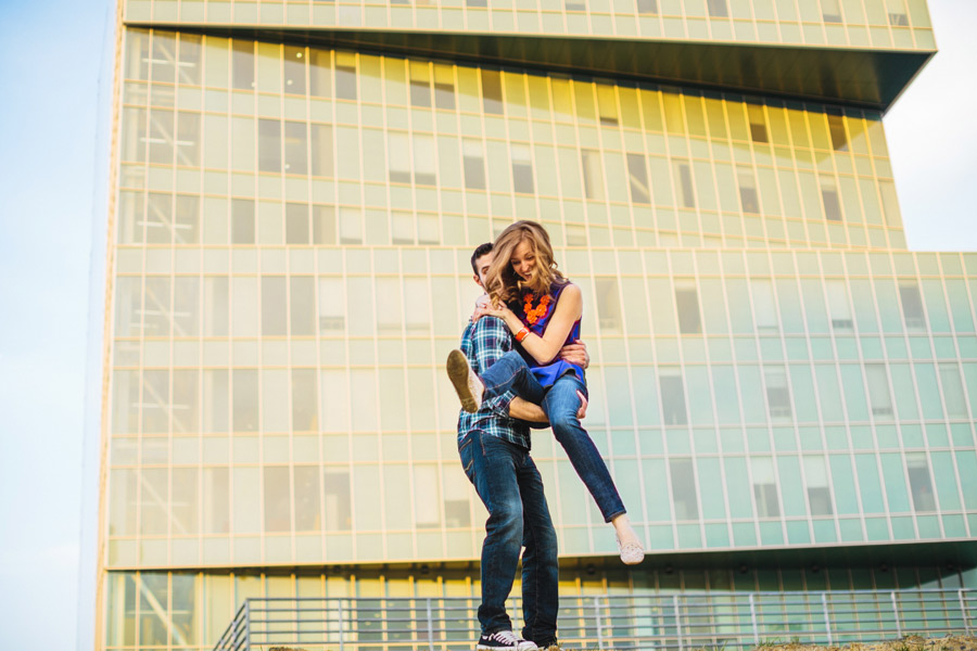 fun engagement session on uptown charlotte nc