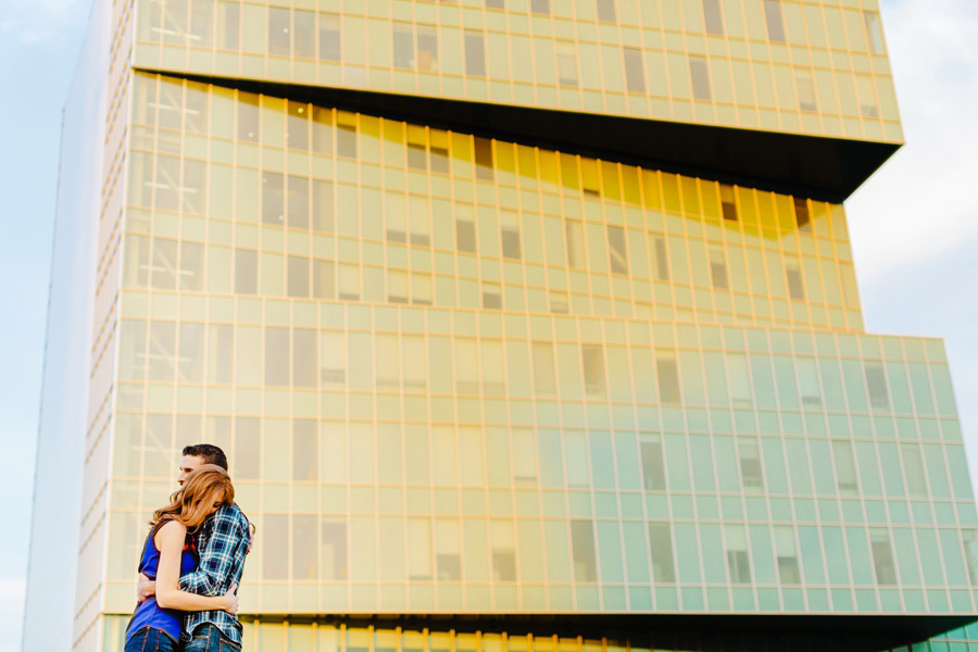 fun engagement session on uptown charlotte nc with beautiful light