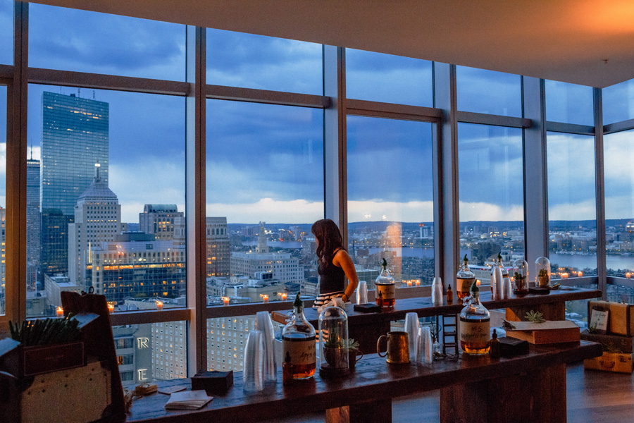 boston skyline at the W penthouse