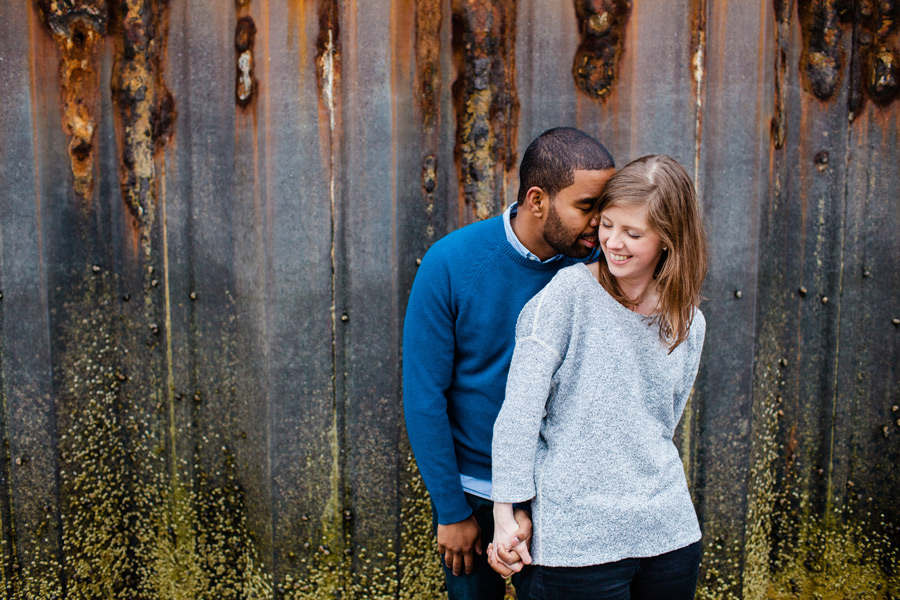 colorful metal wall background marblehead engagement photography