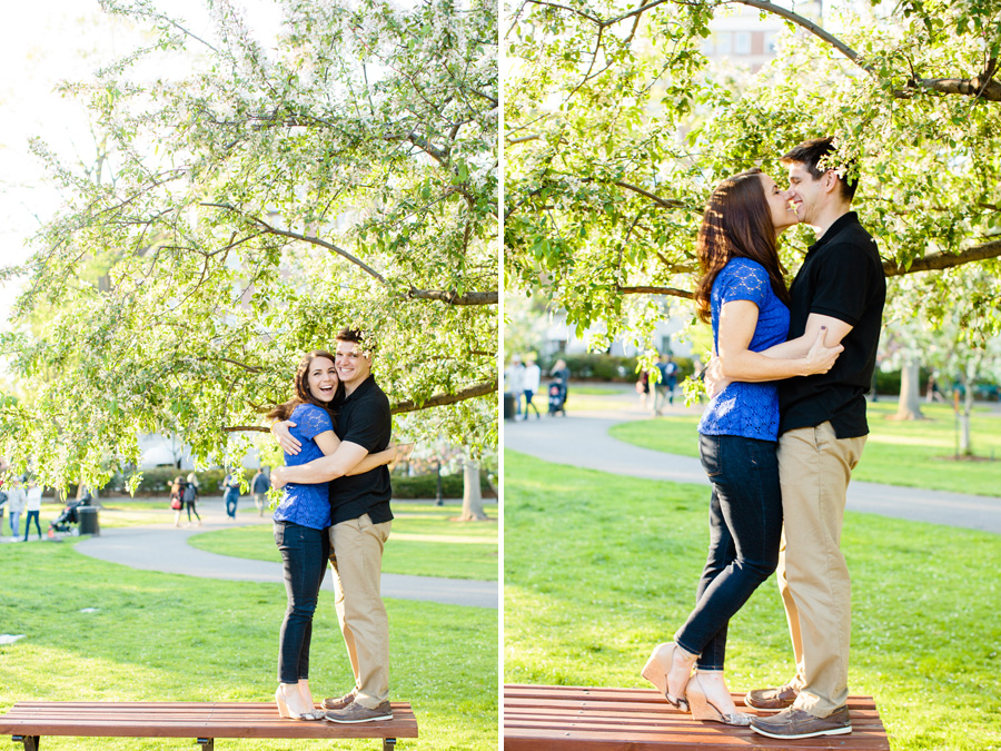 cute couple on bench at the public gardens during engagement photography