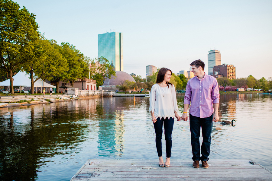boston skyline esplanade engagement photography