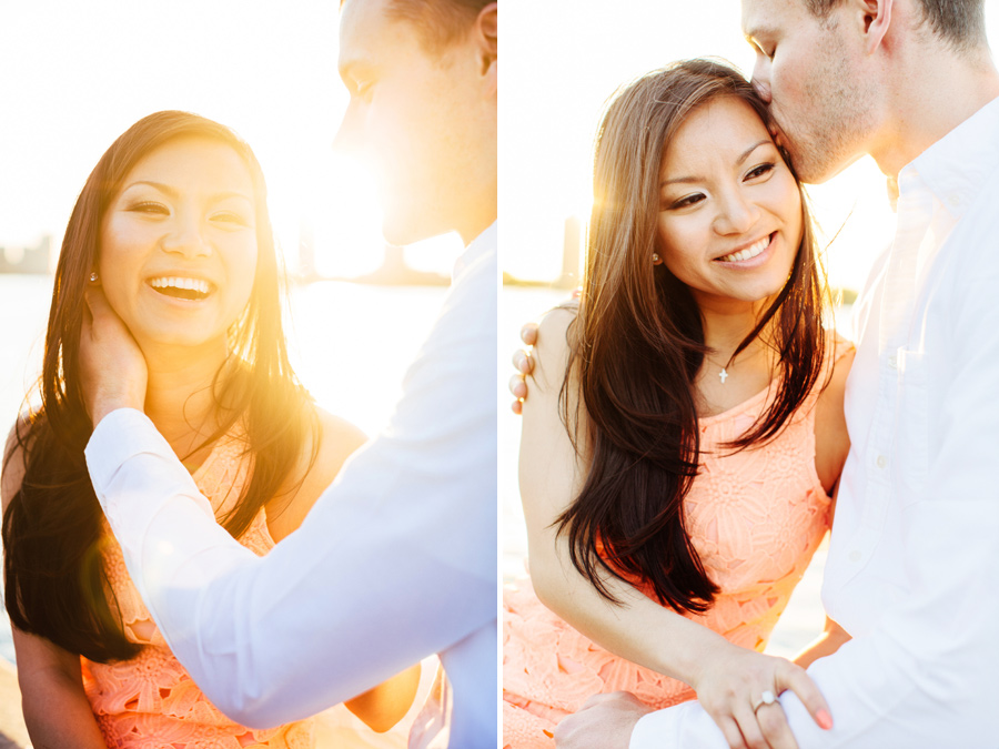 lovely couple during sunset at the boston esplanade engagement photographer