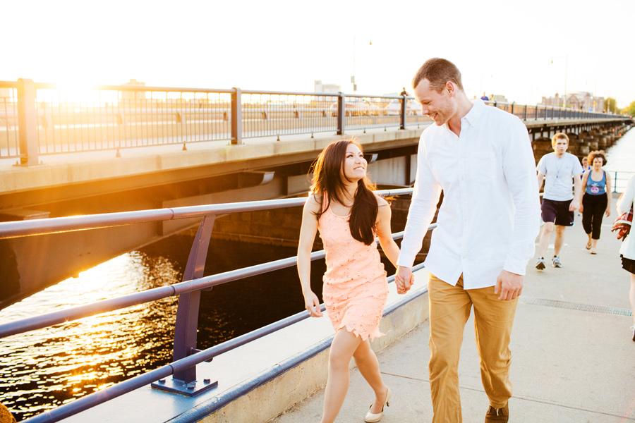 beautiful light at the boston esplanade on mass ave engagement photographer