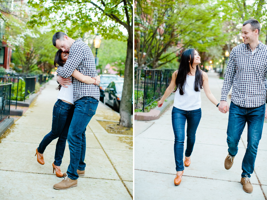 boston engagement photographer couple on the street having fun