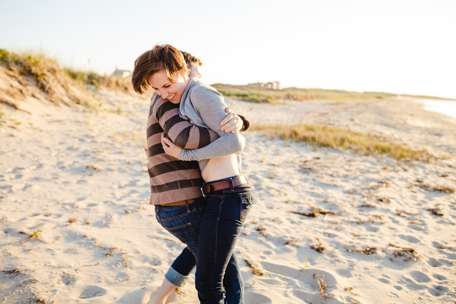nantucket couples engagement photos having fun on the beach figawi weekend