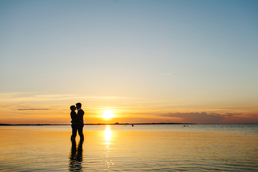 nantucket madaket sunset engagement photography couple in water