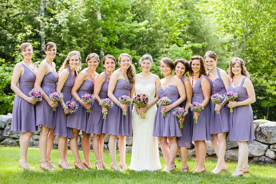 beautiful camp wedding bridal party rustic bride - lovely bridesmaids dresses, wolfeboro camp brookwoods