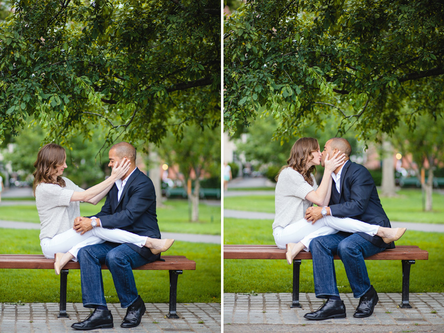 couple at public gardens being cute on a bench portrait photographer