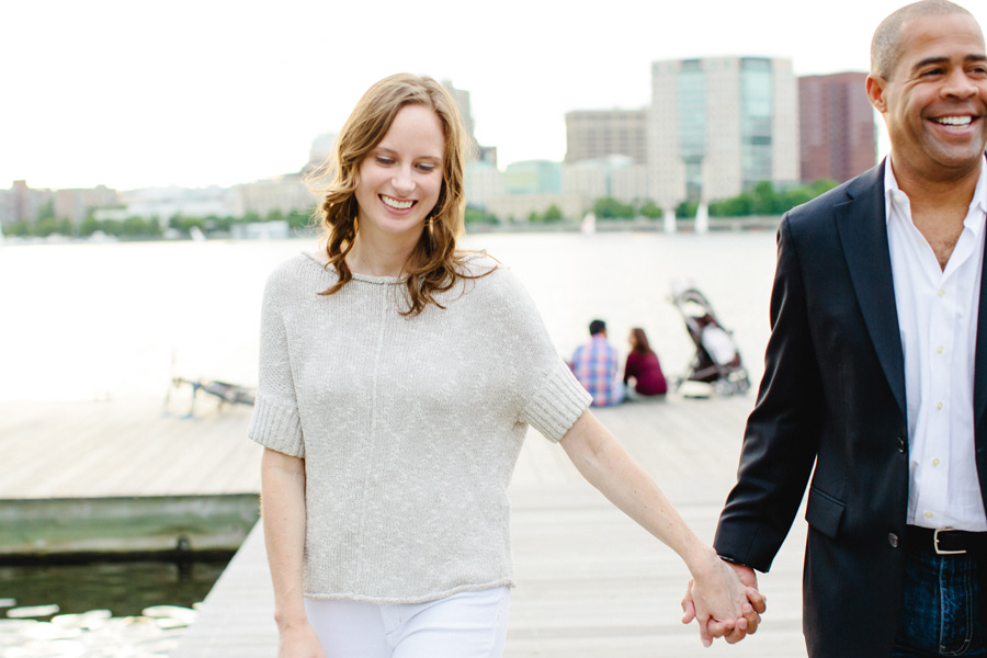 happy engagement couple on the boston esplanade engagement photographer
