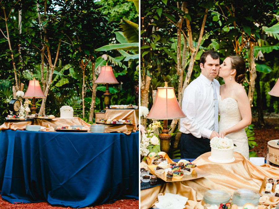 lovely and vintage inspired hemingway home key west florida destination wedding cake cutting