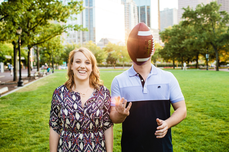 stunning boston engagement session at christopher columbus park football