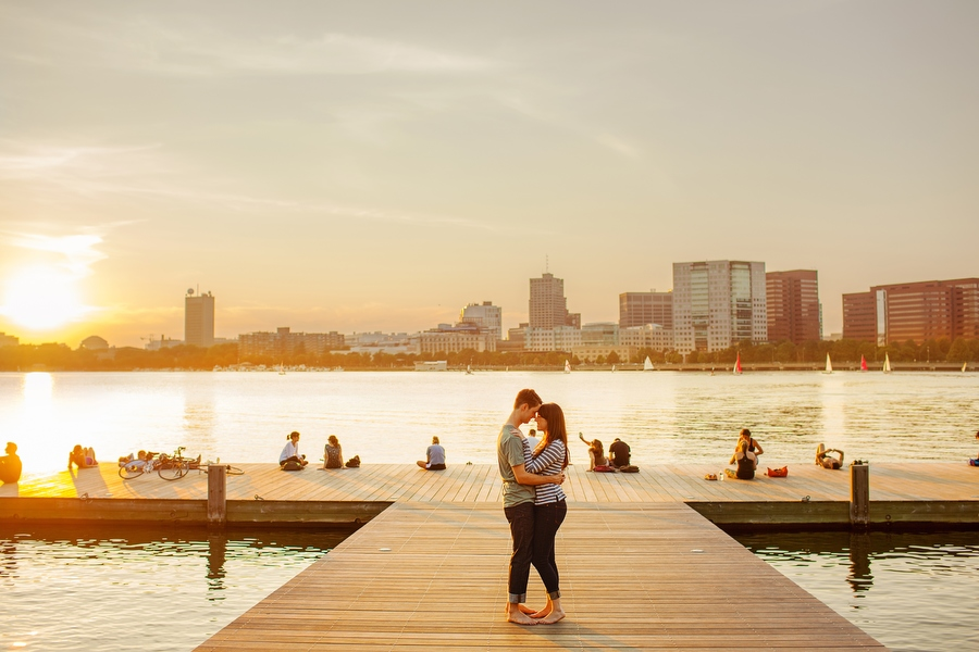 Boston charles river couple engagement photographers boston photographers stunning view