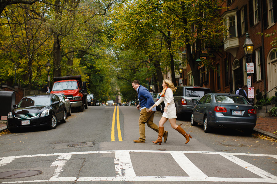 fun and different boston beacon hill creative portraits engagement session
