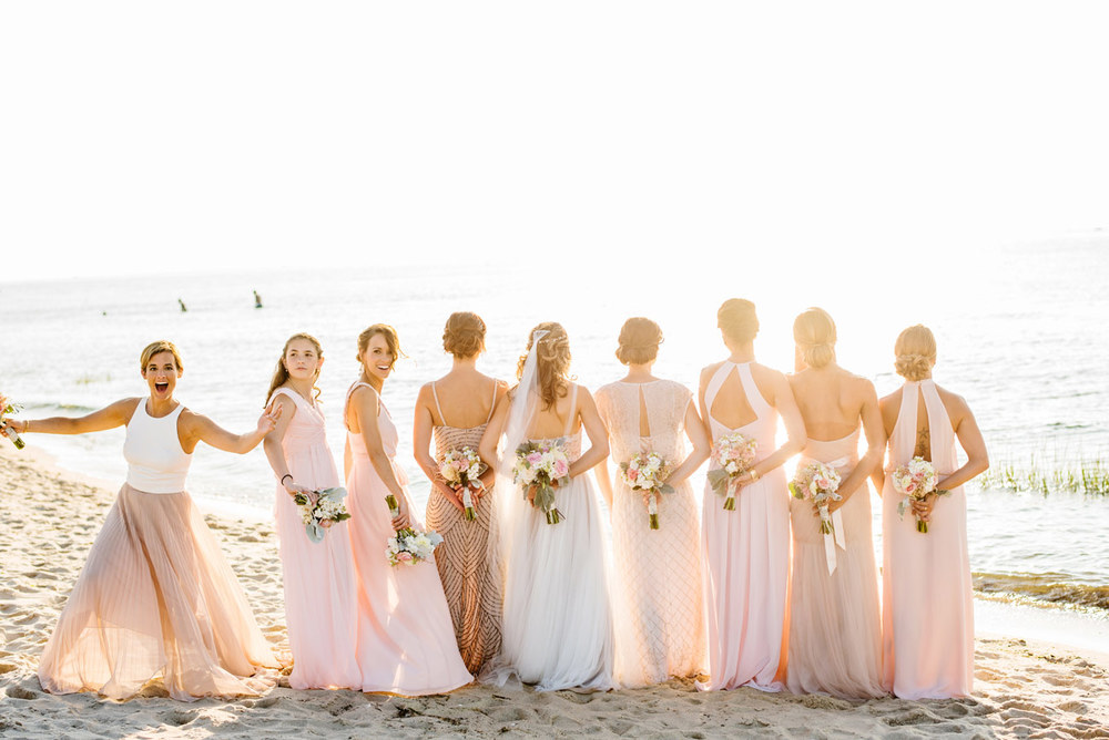 Stunning Bridesmaids On The Beach At Ocean Edge Resort Cape Cod Wedding Photographers