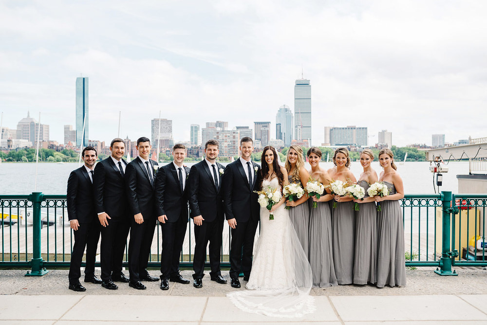 cambridge boston skyline wedding party photos