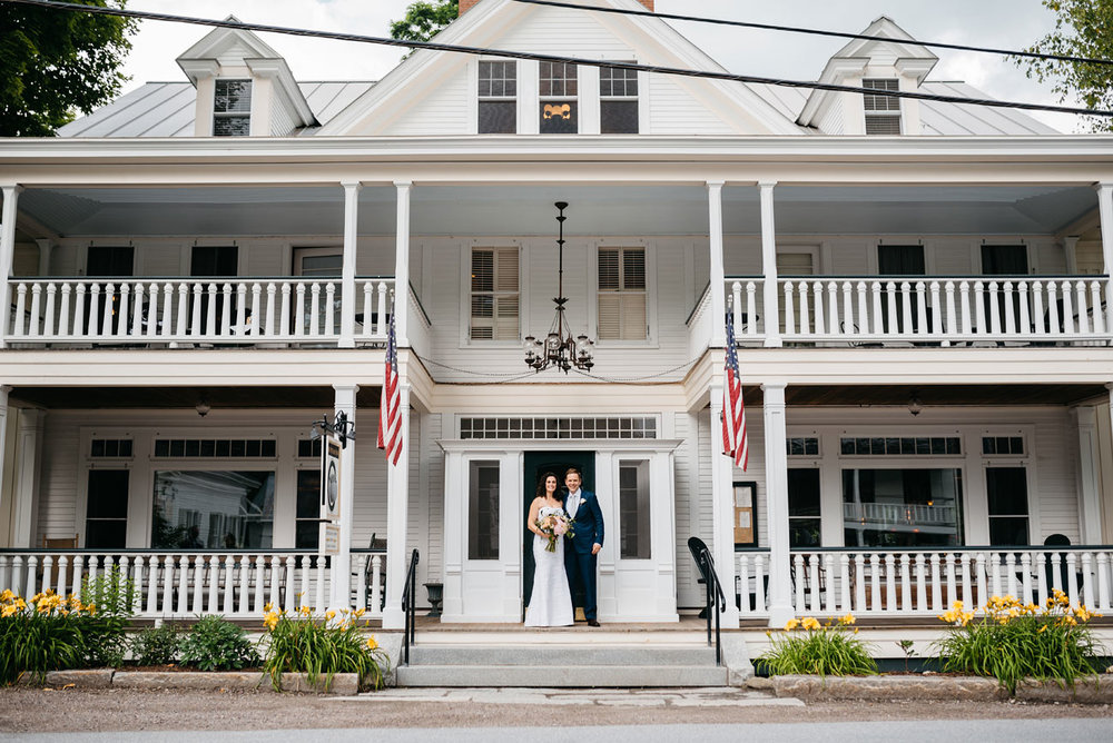 bride and groom portraits in front of the pitcher inn warren vermont , vermont wedding photography