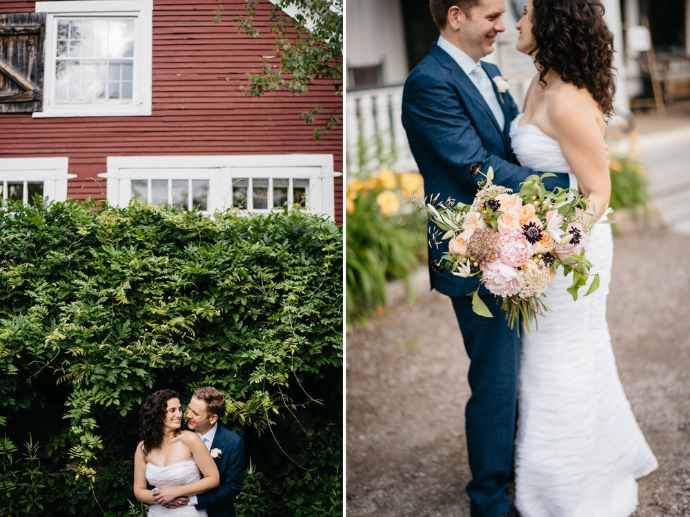 the pitcher inn weddings, couple portrait at the pitcher inn, rustic vermont weddings, beautiful bouquet