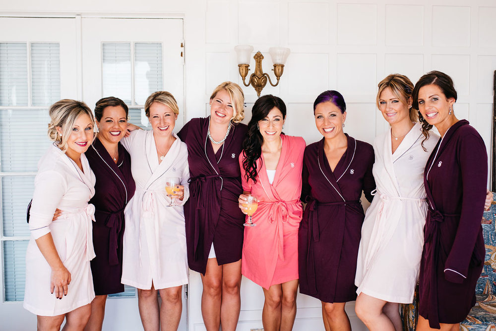 bridesmaids getting ready at the eastern point yacht club,