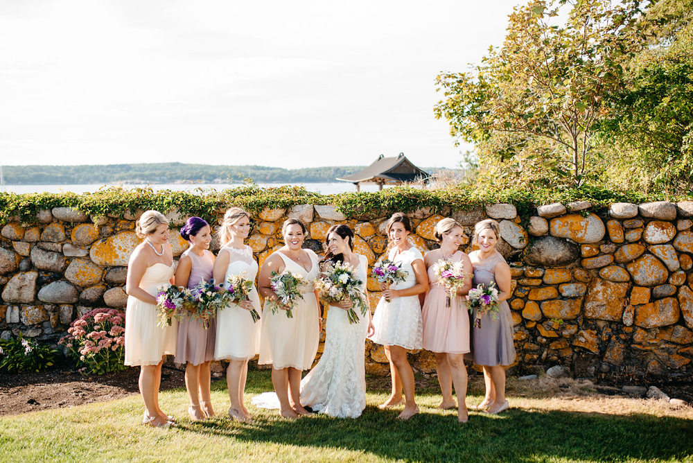 bridesmaids having fun at the eastern point yacht club in Gloucestor, MA