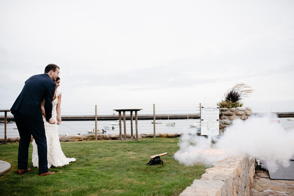 shooting off a canon at eastern point yacht club in Gloucestor, MA