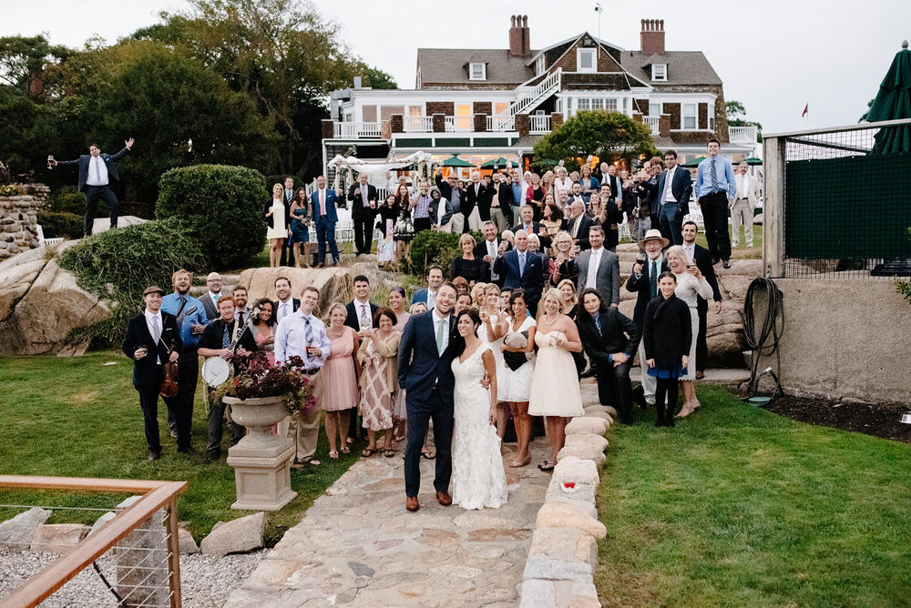 beautiful group shot of the entire wedding eastern point yacht club in Gloucestor, MA outdoor new england weddings estates