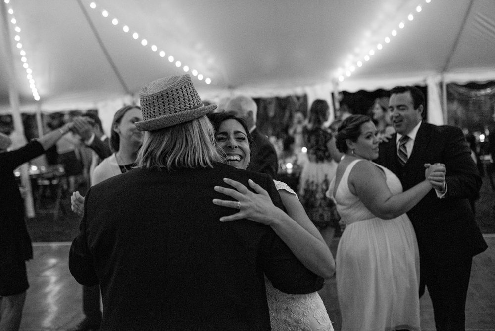 bride with grooms dad dancing at eastern point yacht club in Gloucestor, MA