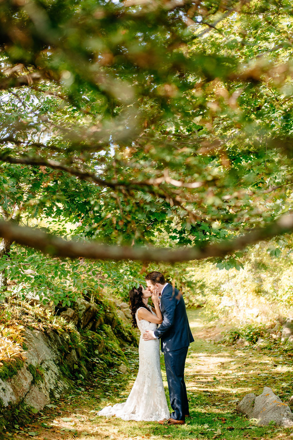 beautiful wedding portrait of the bride and groom at eastern point yacht club private estate weddings in Massachusetts