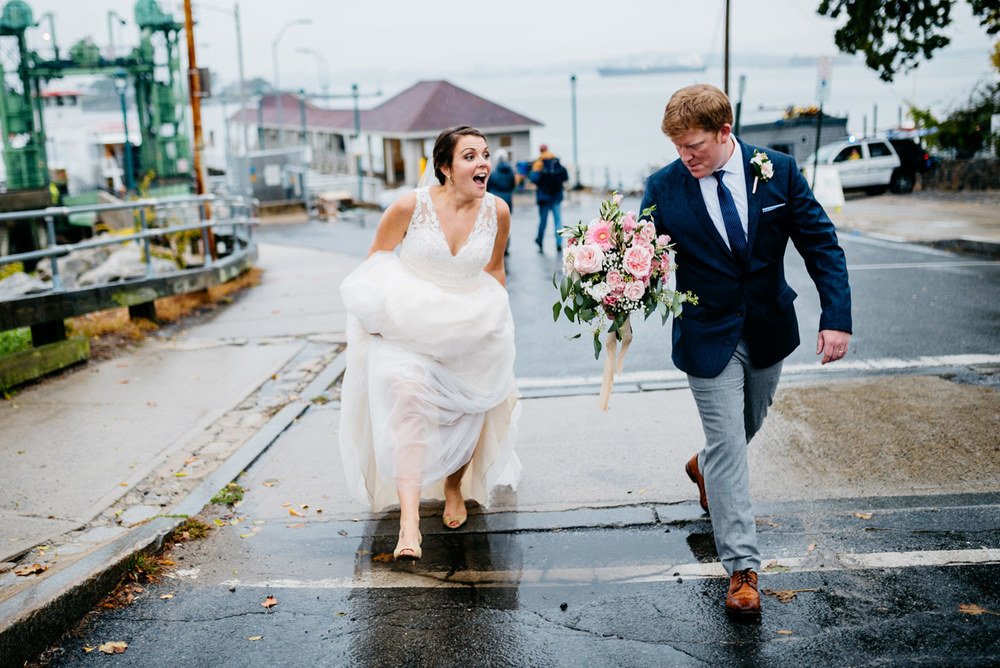 bride and groom having fun at peaks island maine wedding photographers