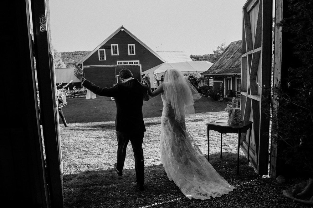 bride and groom leaving chapel in new england new hampshire bishop farm wedding