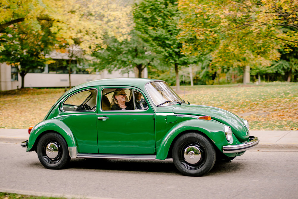 vintage vw green bug at a wedding